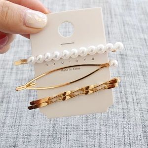 Retro Gold Faux Pearl Hair Clip Set